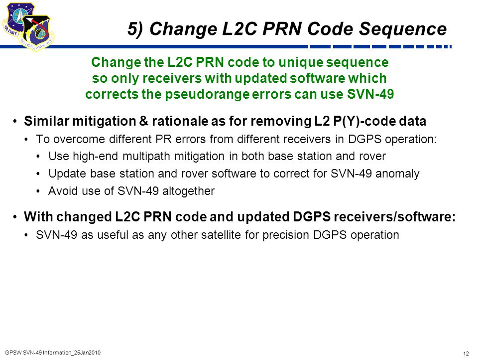 5) Change L2C PRN Code Sequence