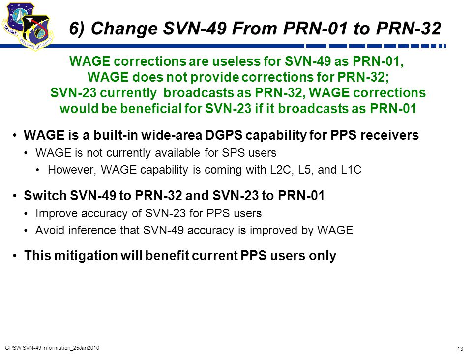 6) Change SVN-49 From PRN-01 to PRN-32
