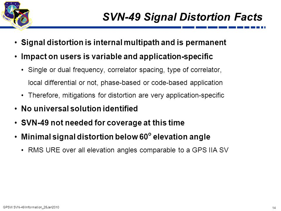 SVN-49 Signal Distortion Facts