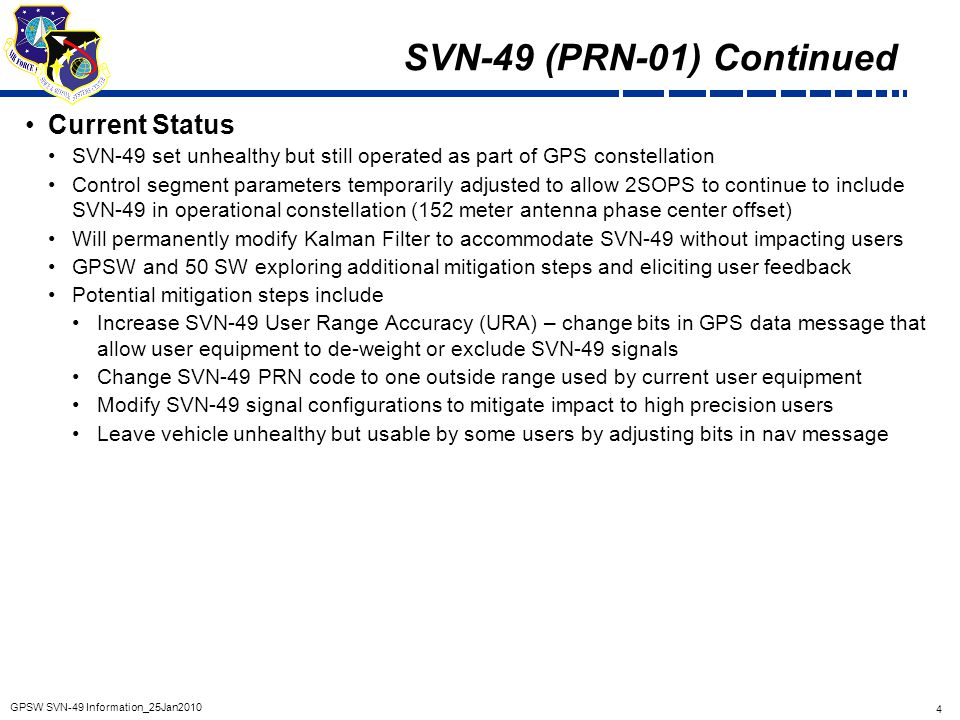 SVN-49 (PRN-01) Continued Current Status