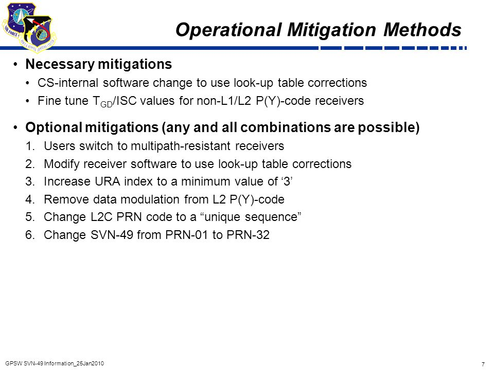 Operational Mitigation Methods