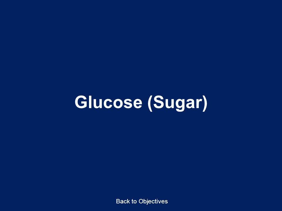 Glucose (Sugar) Back to Objectives Points to Emphasize