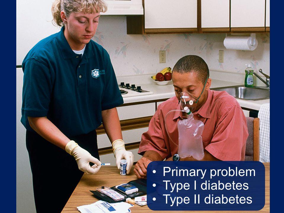 Primary problem Type I diabetes Type II diabetes Talking Points