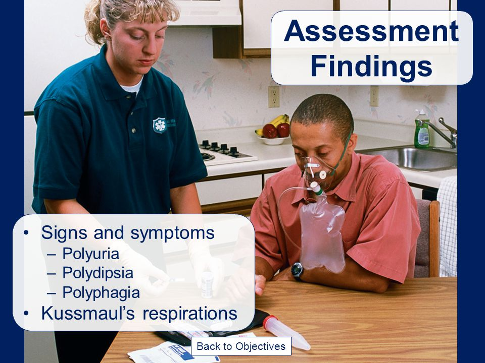 Assessment Findings Signs and symptoms Kussmaul's respirations