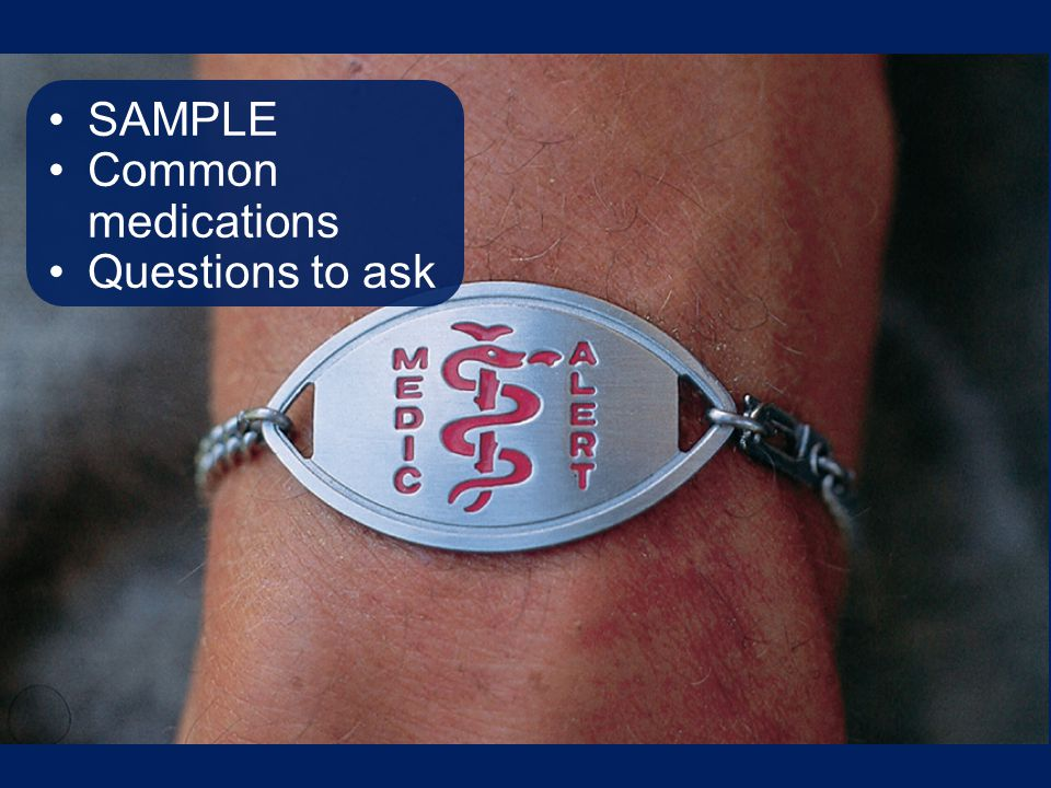 SAMPLE Common medications Questions to ask Talking Points