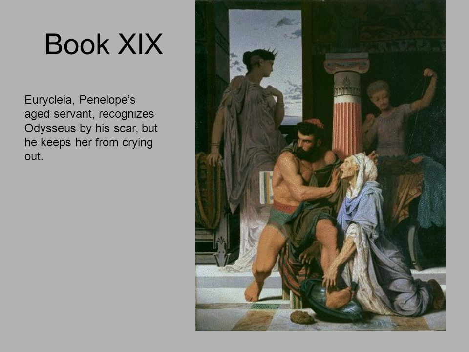 Book XIX Eurycleia, Penelope's aged servant, recognizes Odysseus by his scar, but he keeps her from crying out.