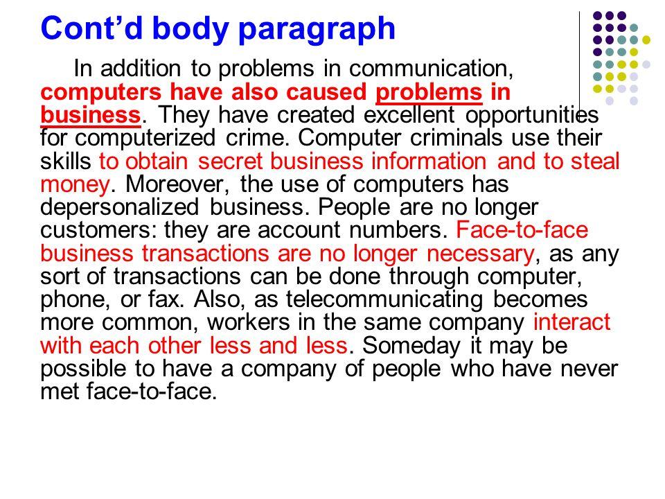 Cont'd body paragraph