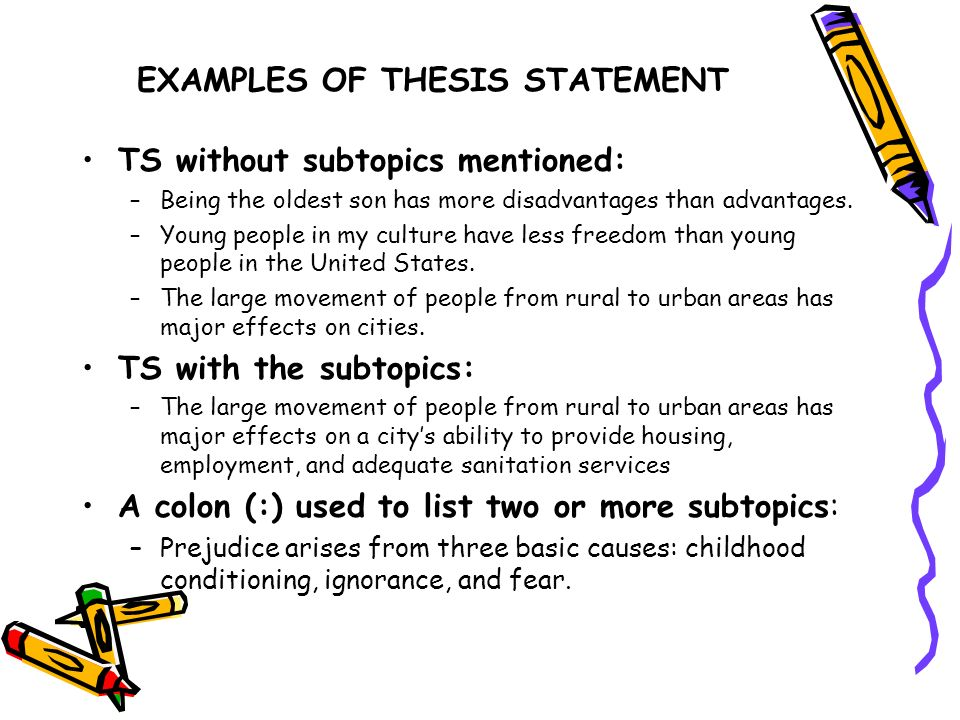 EXAMPLES OF THESIS STATEMENT