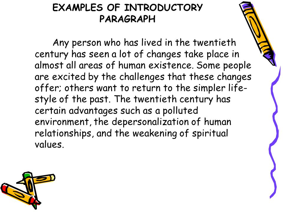 EXAMPLES OF INTRODUCTORY PARAGRAPH