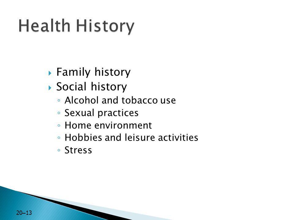 Health History Family history Social history Alcohol and tobacco use