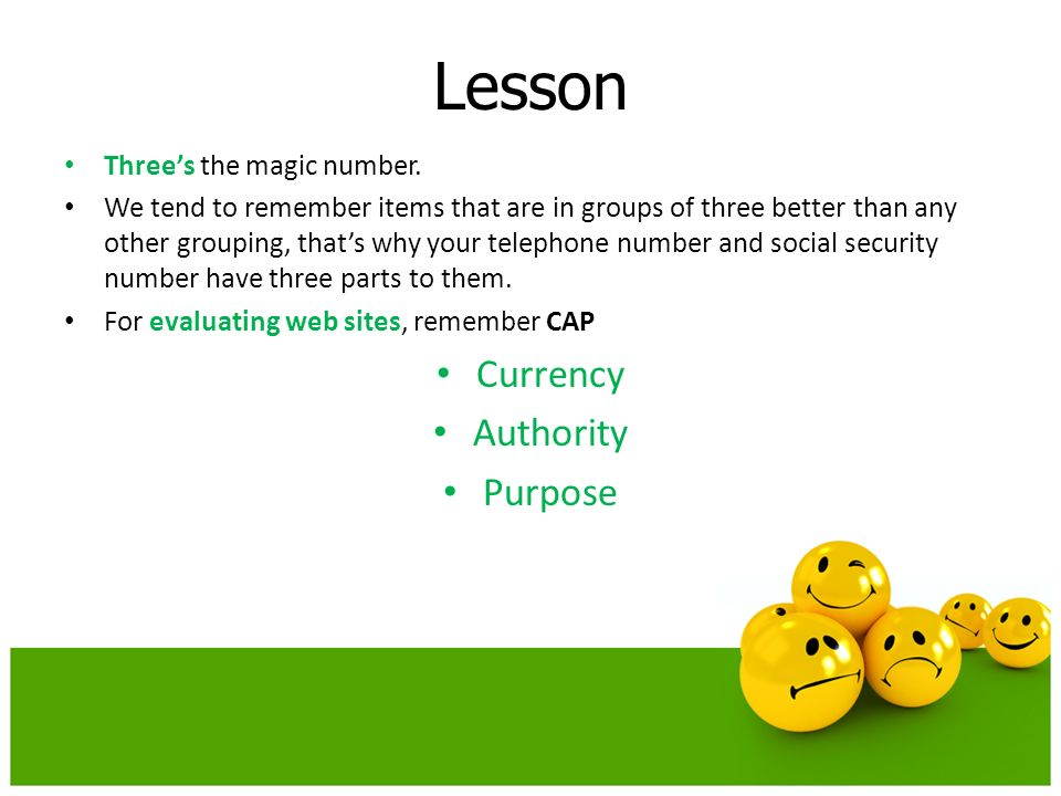 Lesson Currency Authority Purpose Three's the magic number.