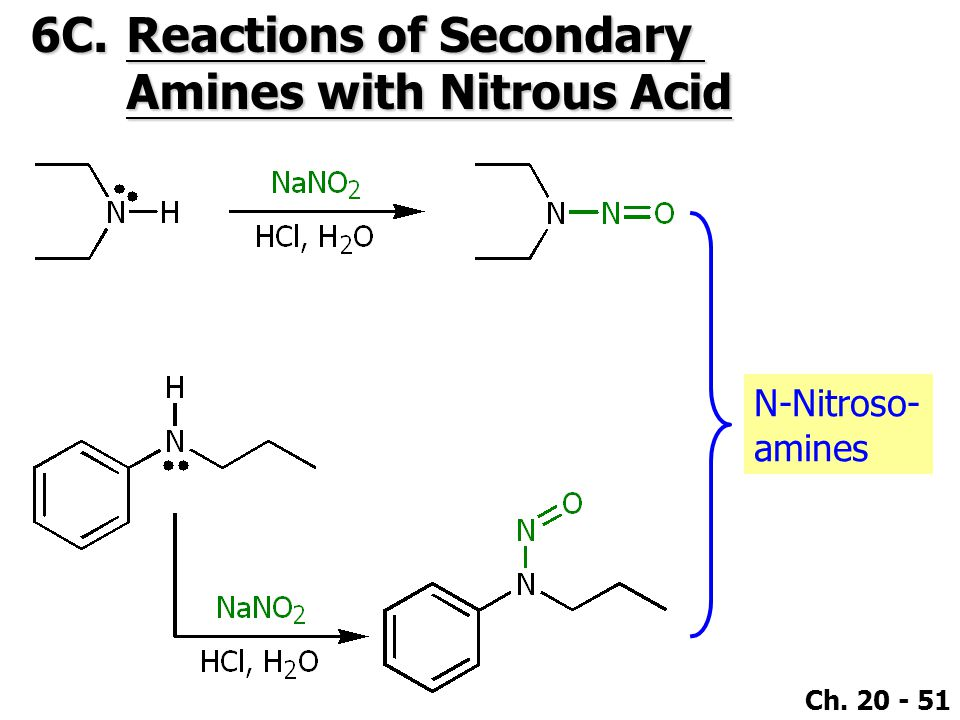 6C. Reactions of Secondary Amines with Nitrous Acid