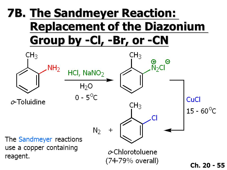 7B. The Sandmeyer Reaction: Replacement of the Diazonium Group by -Cl, -Br, or -CN