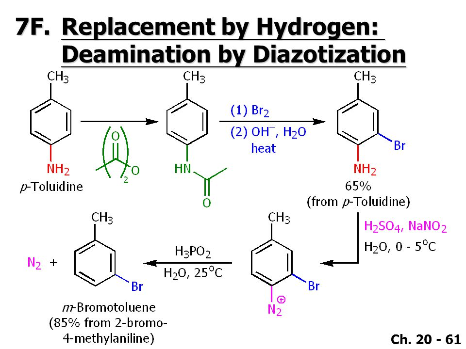 7F. Replacement by Hydrogen: Deamination by Diazotization