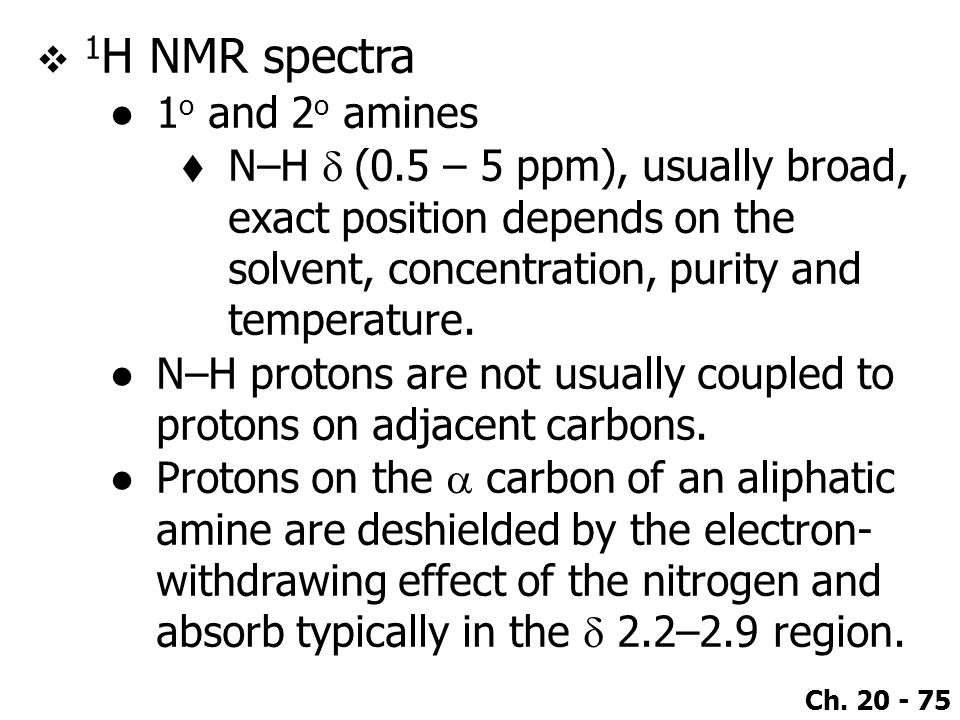 1H NMR spectra 1o and 2o amines