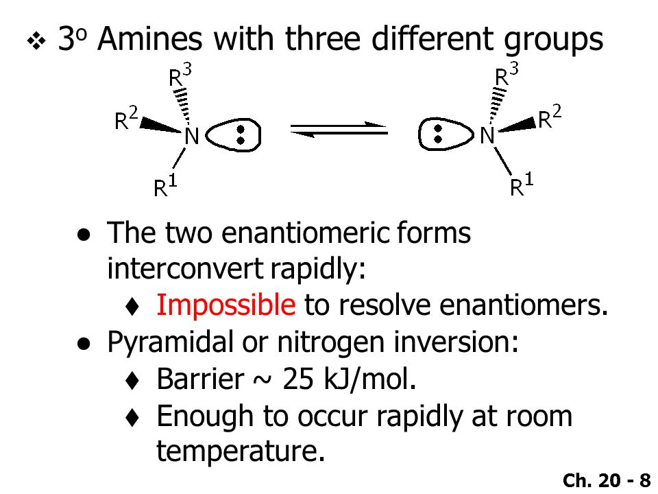 3o Amines with three different groups