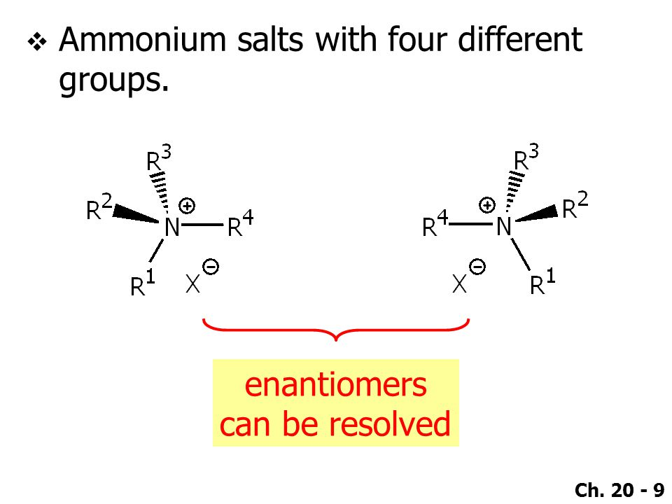 Ammonium salts with four different groups.
