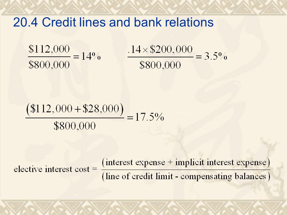 20.4 Credit lines and bank relations