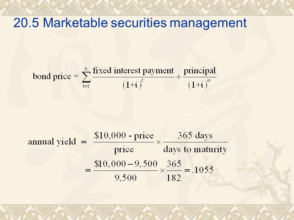 20.5 Marketable securities management