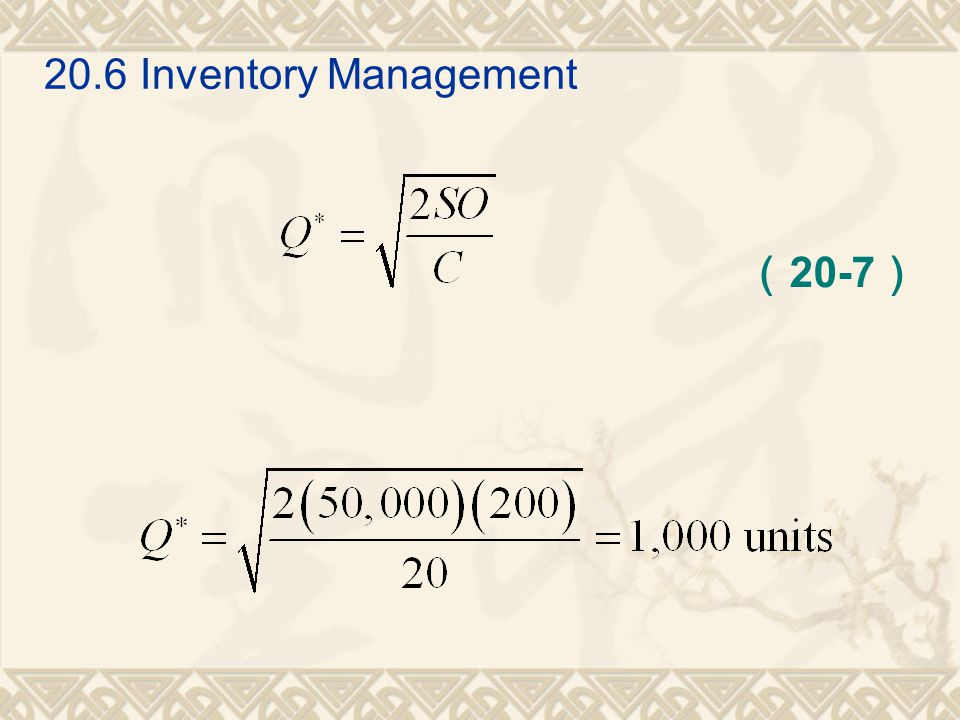 20.6 Inventory Management (20-7)
