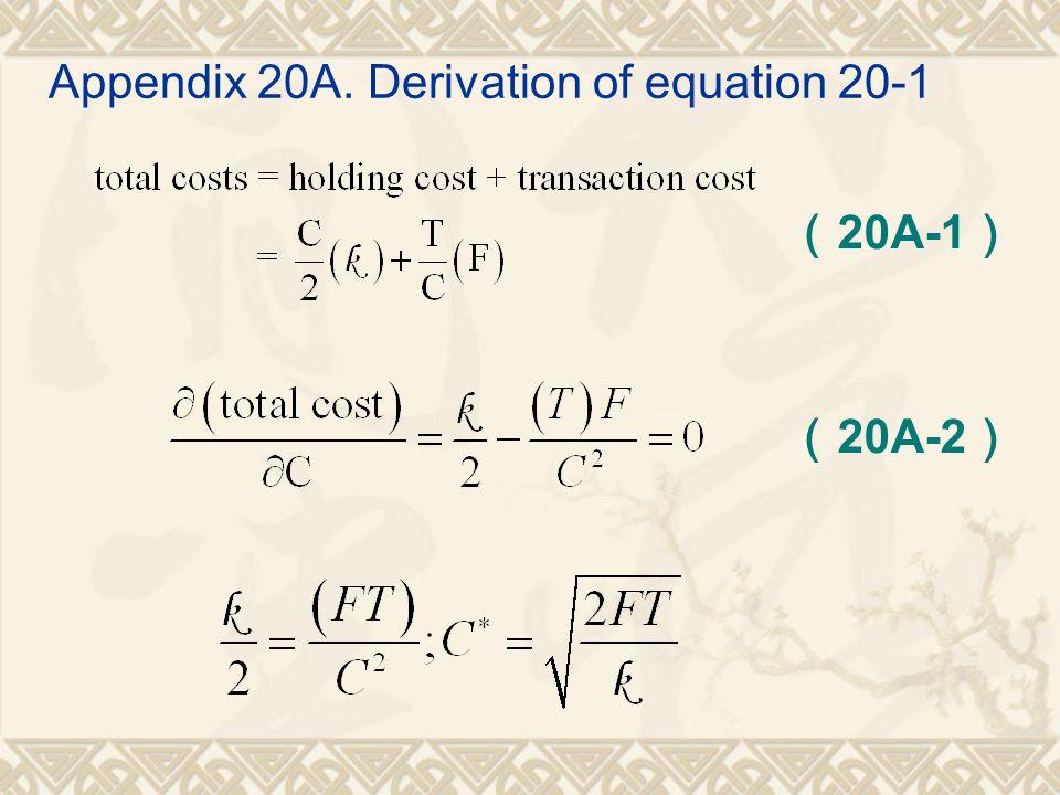Appendix 20A. Derivation of equation 20-1