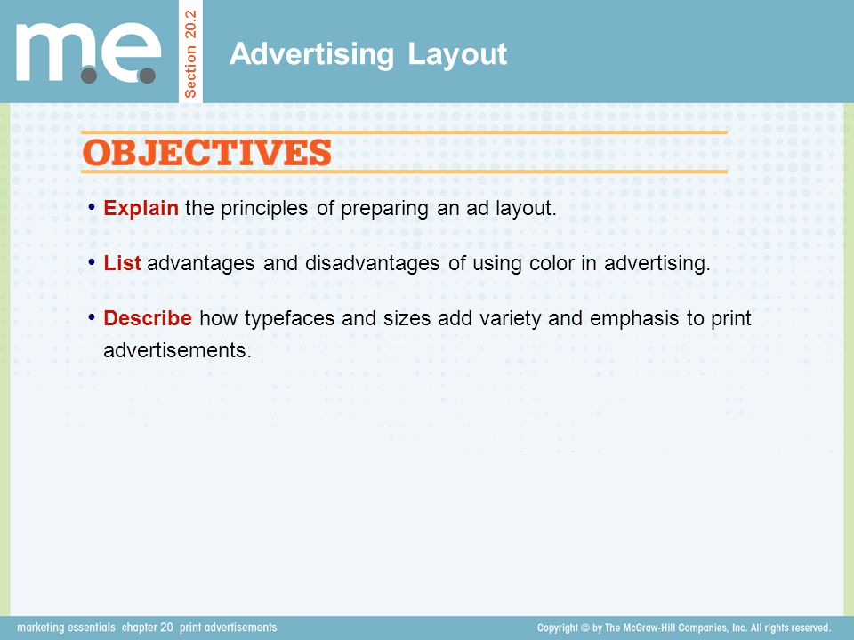 Advertising Layout Explain the principles of preparing an ad layout.