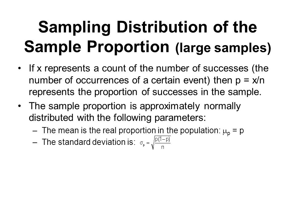 Sampling Distribution of the Sample Proportion (large samples)