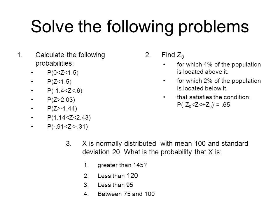 Solve the following problems