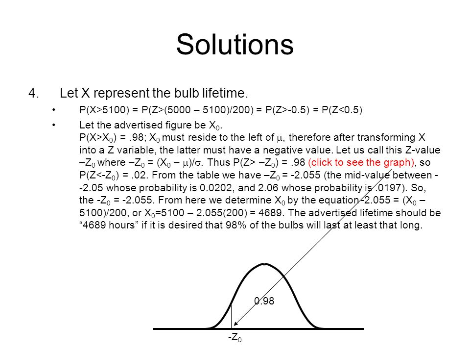Solutions 4. Let X represent the bulb lifetime.
