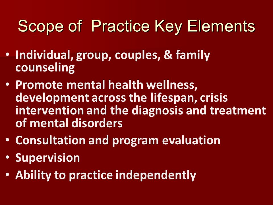 Scope of Practice Key Elements