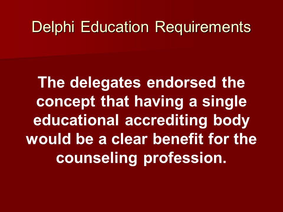 Delphi Education Requirements