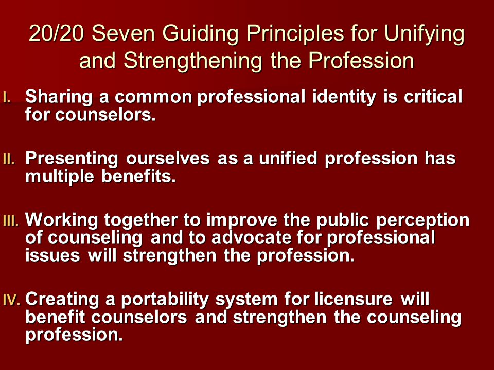 20/20 Seven Guiding Principles for Unifying and Strengthening the Profession