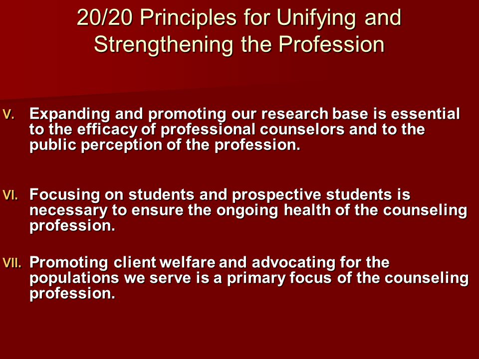 20/20 Principles for Unifying and Strengthening the Profession