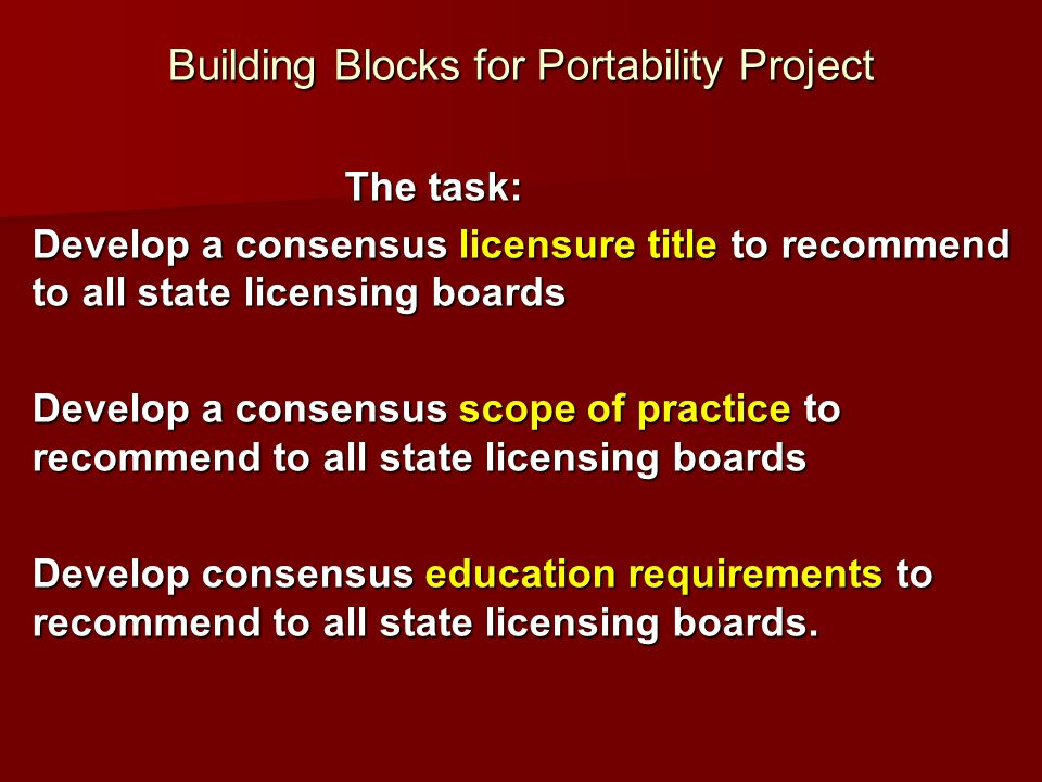 Building Blocks for Portability Project