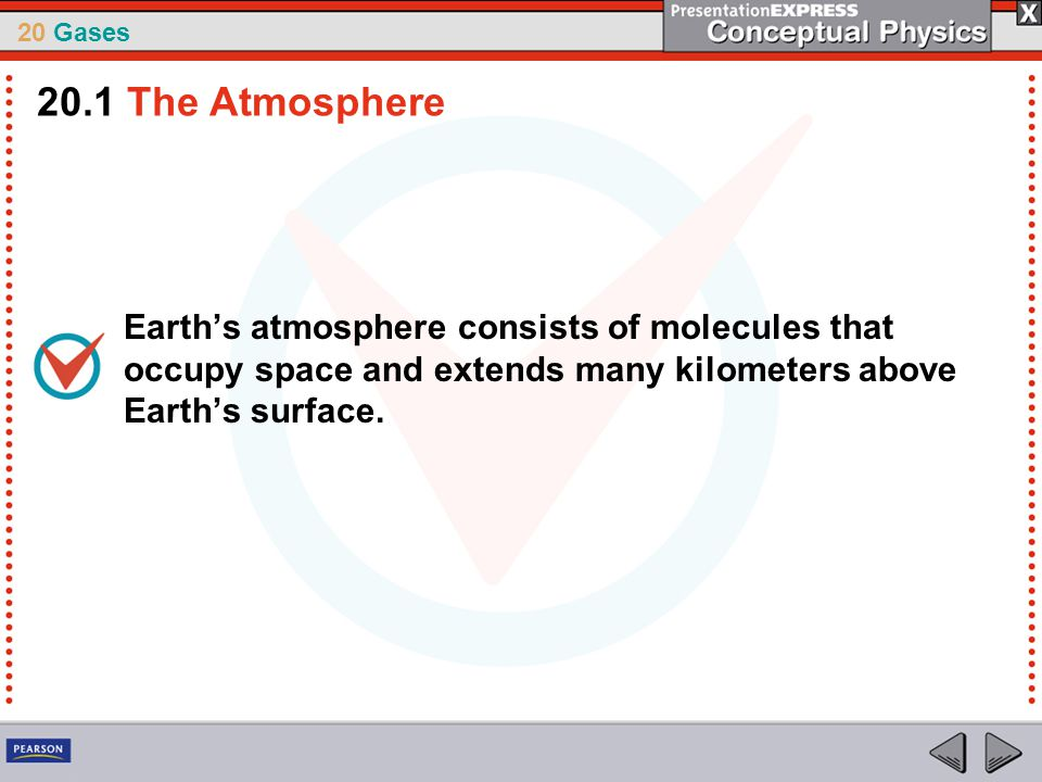 20.1 The Atmosphere Earth's atmosphere consists of molecules that occupy space and extends many kilometers above Earth's surface.
