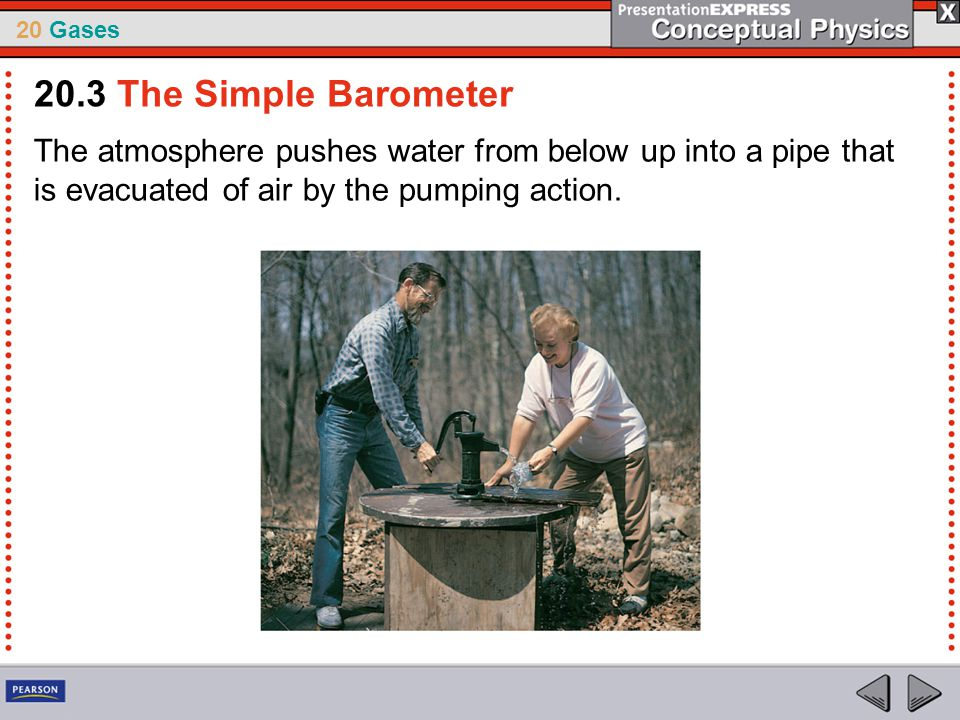 20.3 The Simple Barometer The atmosphere pushes water from below up into a pipe that is evacuated of air by the pumping action.
