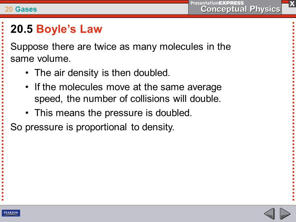 20.5 Boyle's Law Suppose there are twice as many molecules in the same volume. The air density is then doubled.