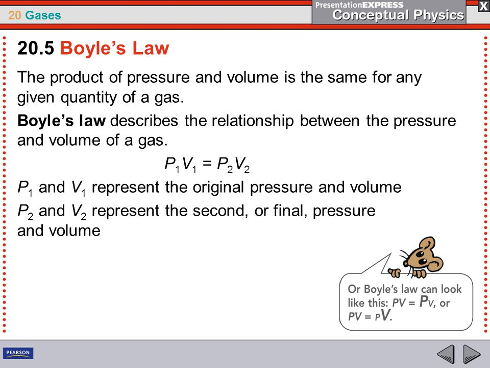 20.5 Boyle's Law The product of pressure and volume is the same for any given quantity of a gas.