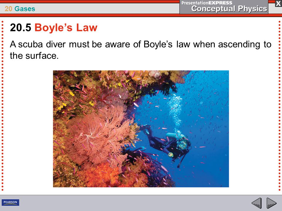 20.5 Boyle's Law A scuba diver must be aware of Boyle's law when ascending to the surface.