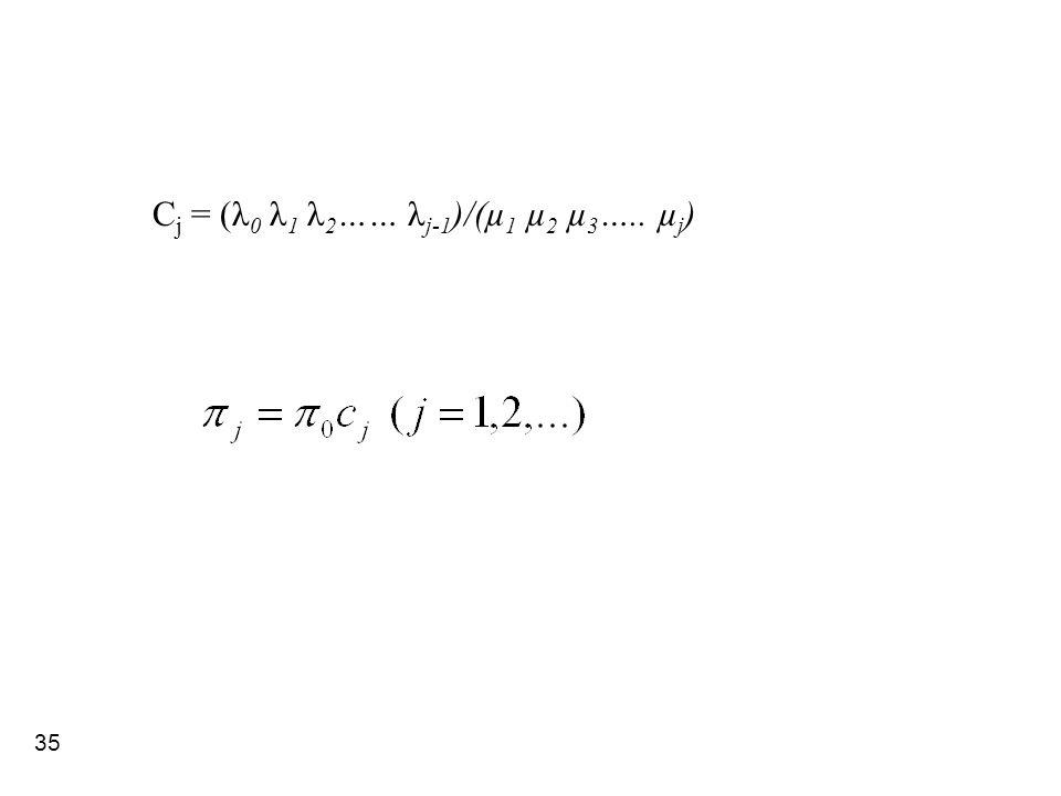 Cj = (λ0 λ1 λ2…… λj-1)/(µ1 µ2 µ3….. µj)