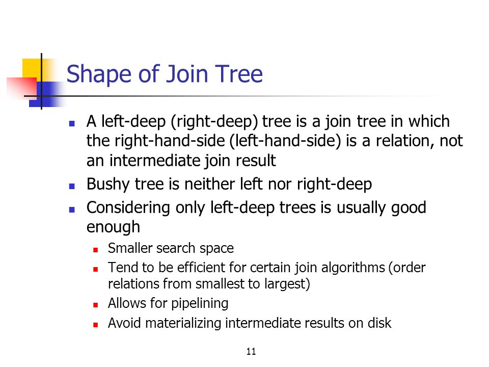 Shape of Join Tree