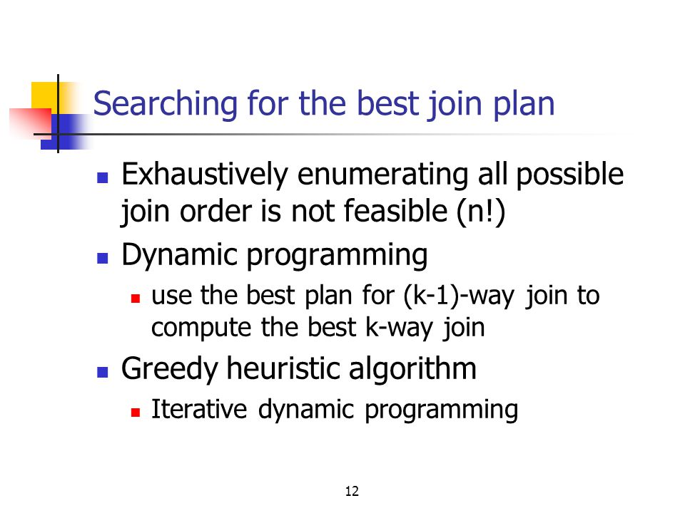 Searching for the best join plan