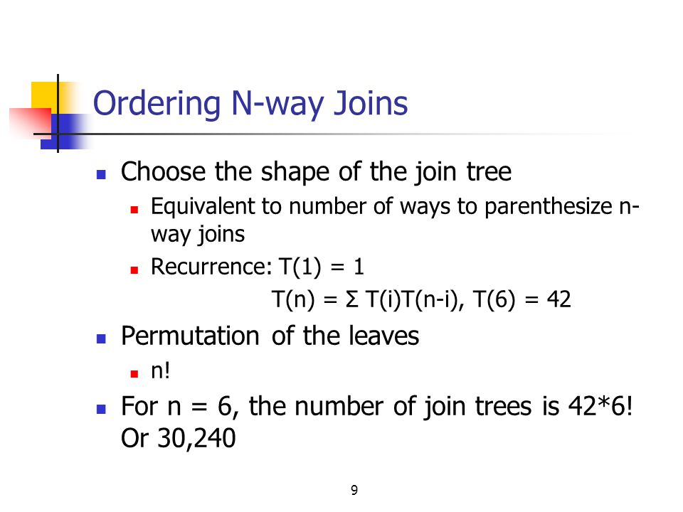 Ordering N-way Joins Choose the shape of the join tree