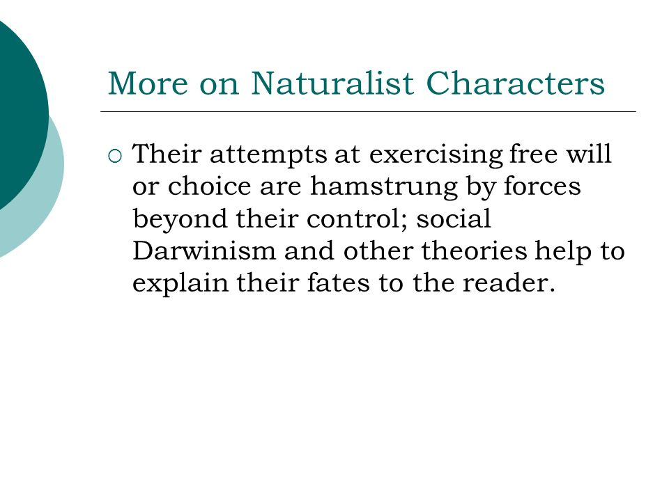 More on Naturalist Characters