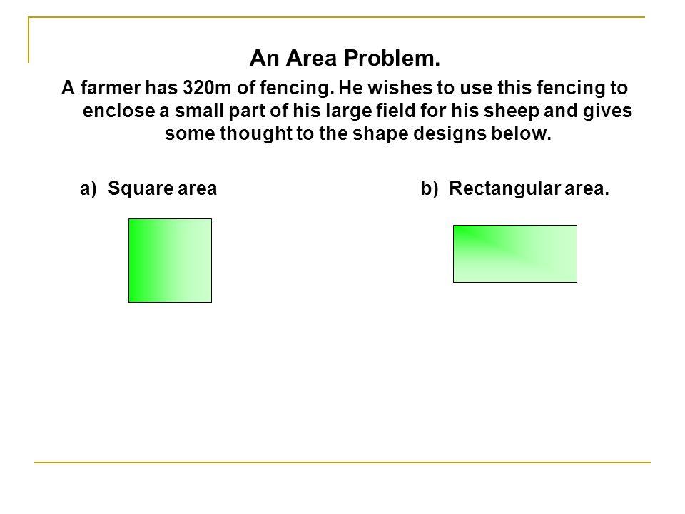 a) Square area b) Rectangular area.