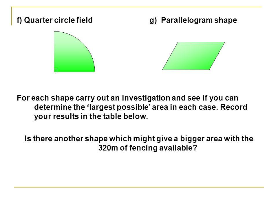 f) Quarter circle field g) Parallelogram shape