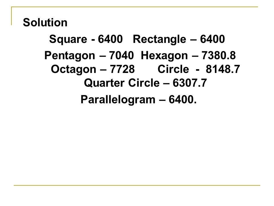 Solution Square - 6400 Rectangle – 6400. Pentagon – 7040 Hexagon – 7380.8 Octagon – 7728 Circle - 8148.7 Quarter Circle – 6307.7.