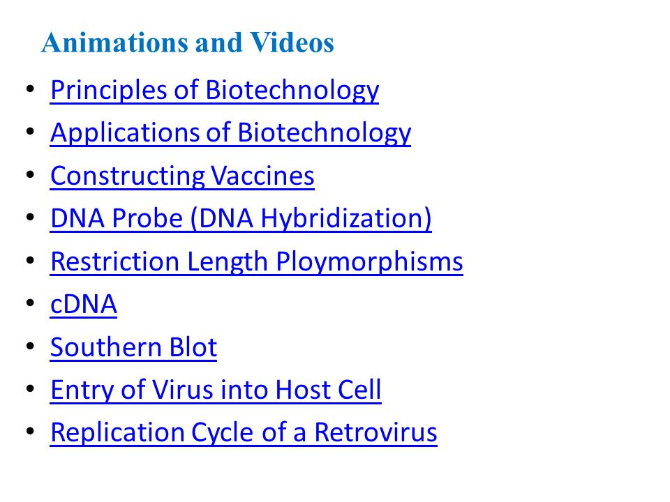 Animations and Videos Principles of Biotechnology. Applications of Biotechnology. Constructing Vaccines.