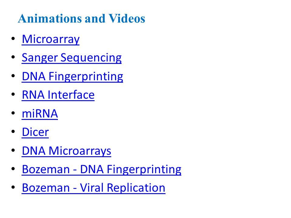 Animations and Videos Microarray. Sanger Sequencing. DNA Fingerprinting. RNA Interface. miRNA. Dicer.