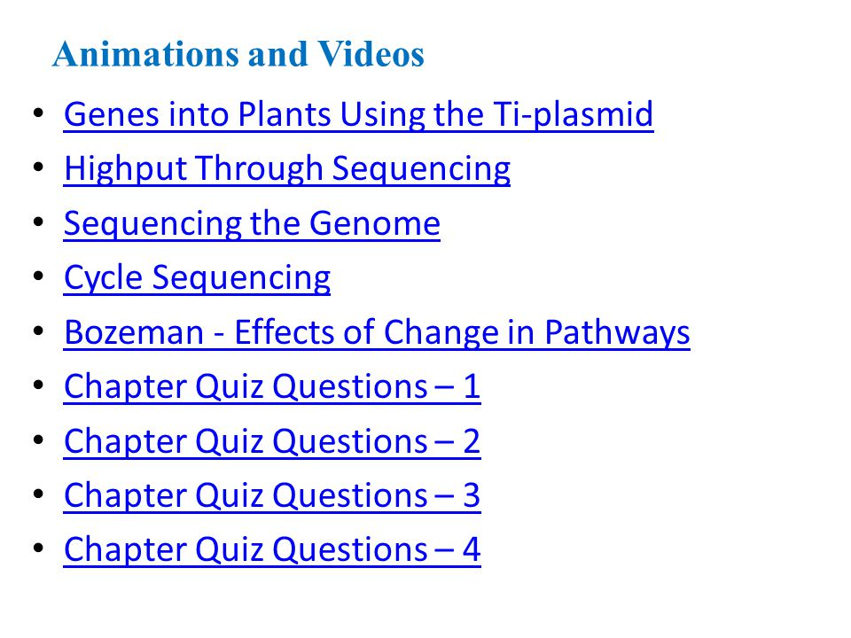Animations and Videos Genes into Plants Using the Ti-plasmid. Highput Through Sequencing. Sequencing the Genome.